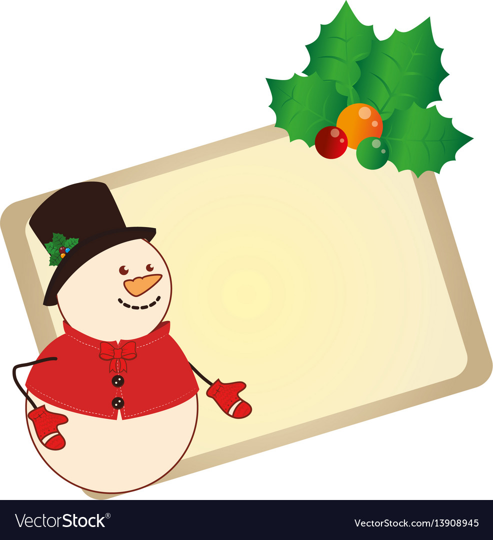 Color christmas card with snowman with holly