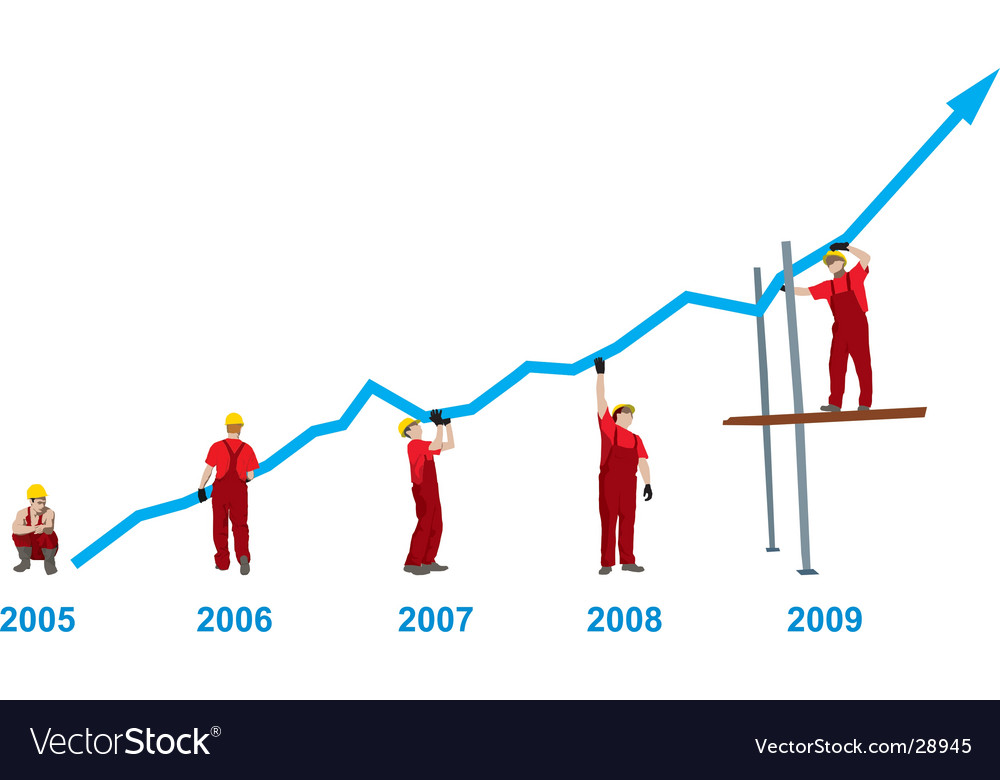 Construction business growth and success vector