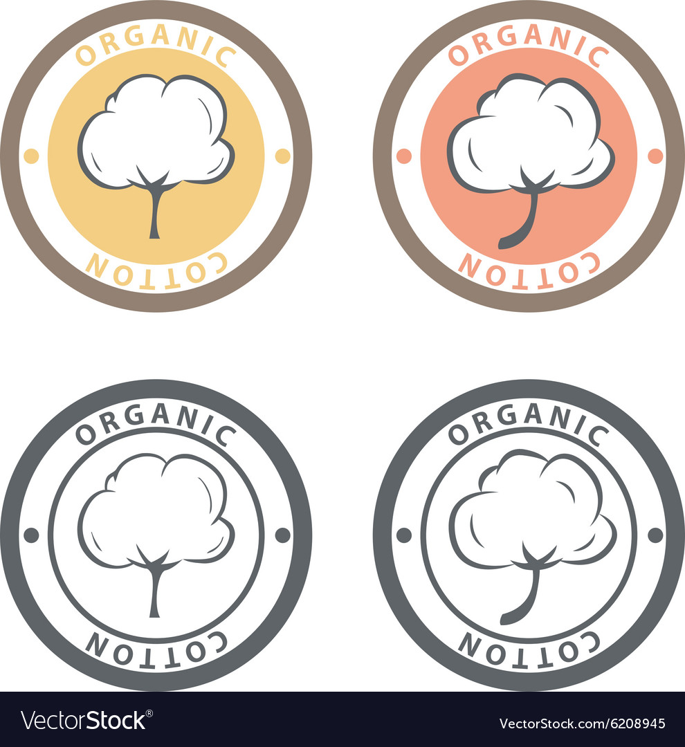 Cotton logo set Cotton labels stickers and emblems
