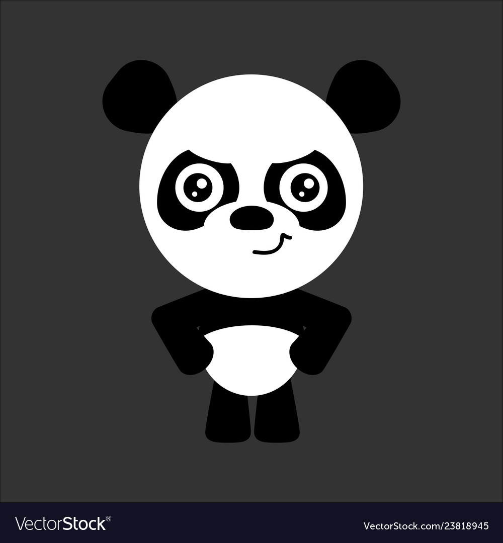 Cute panda cartoon angry character gray