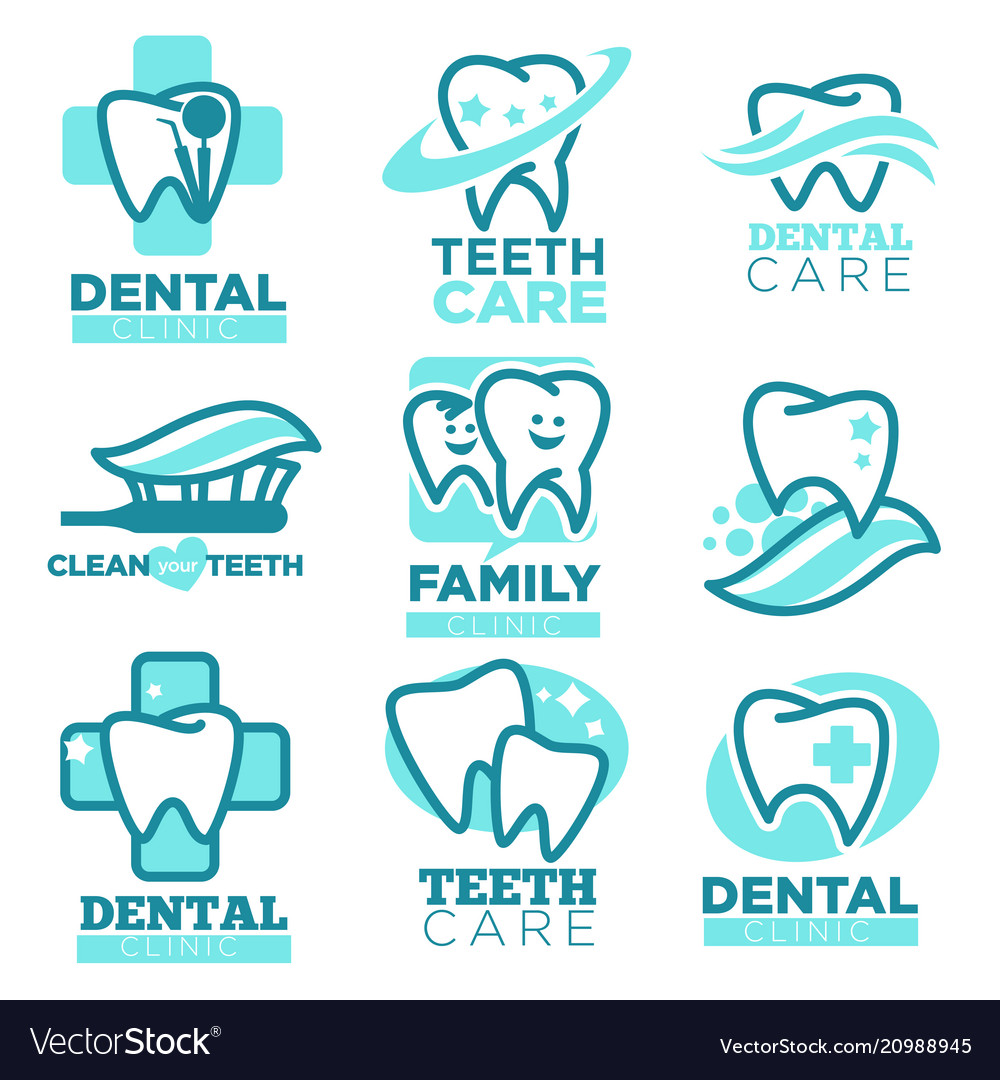 Dentistry tooth icons for dental clinic
