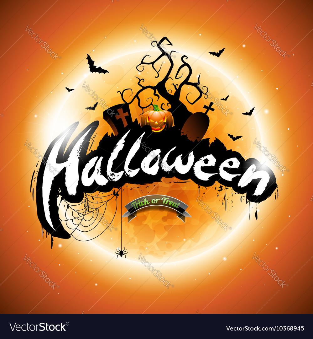 Happy Halloween with pumpkin and moon