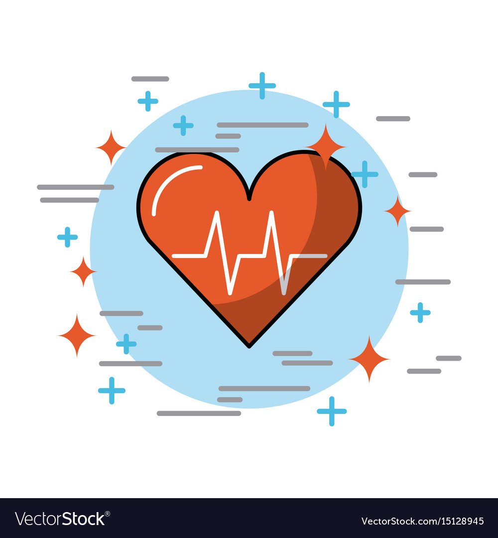 Hearth in circle health vector image