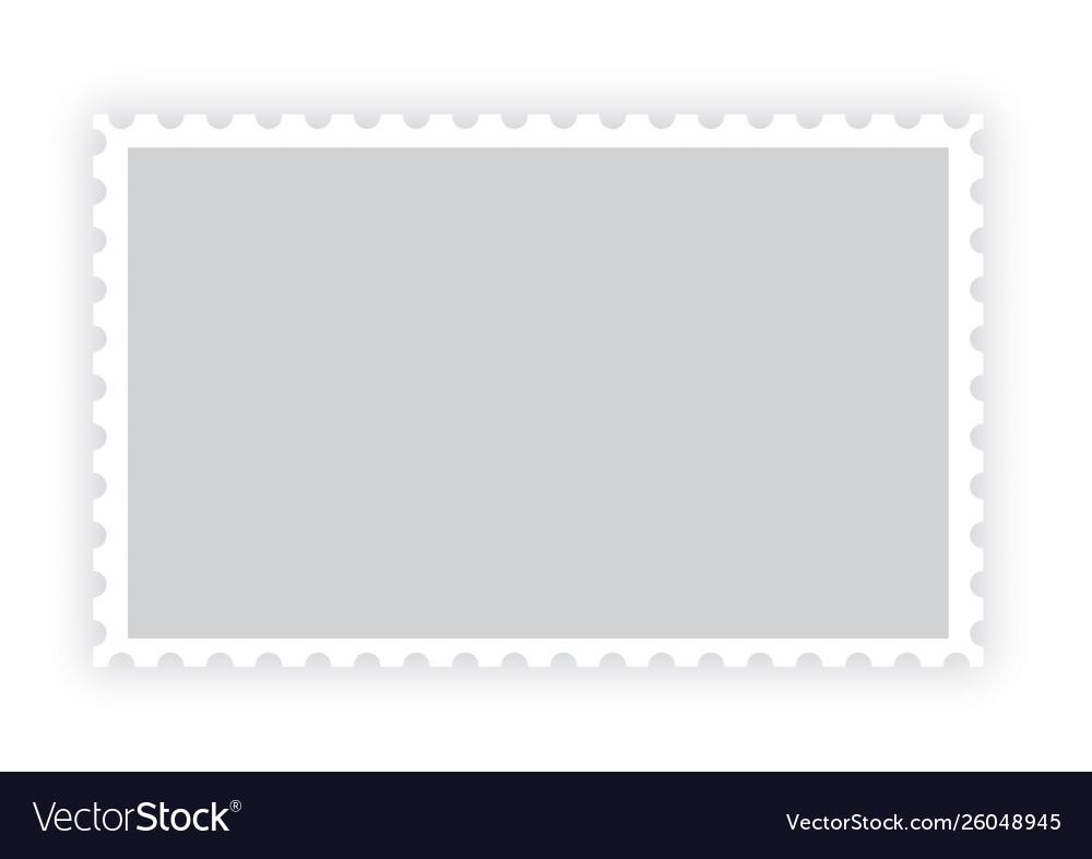 Old blank postage paper stamp frame on white