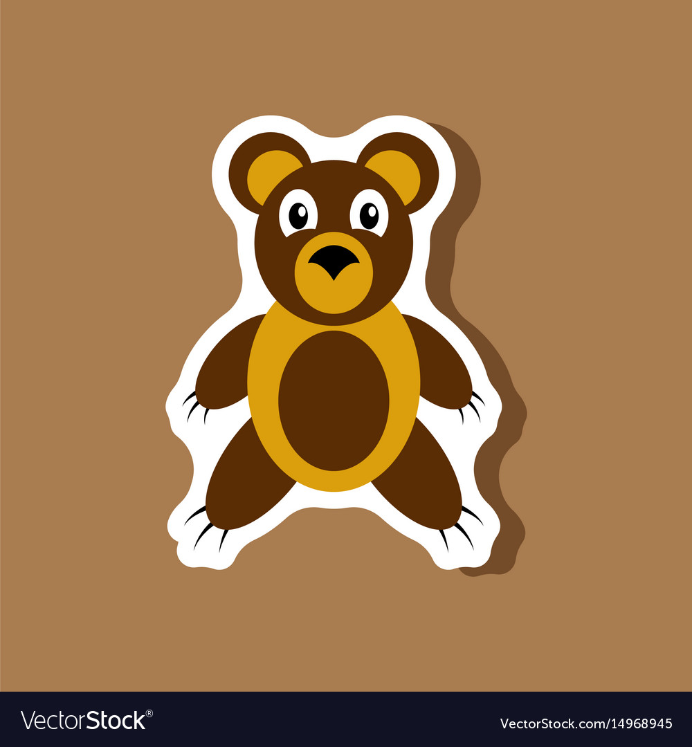 Paper sticker on stylish background toy bear