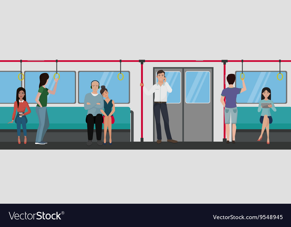 People inside a subway train people metro Vector Image