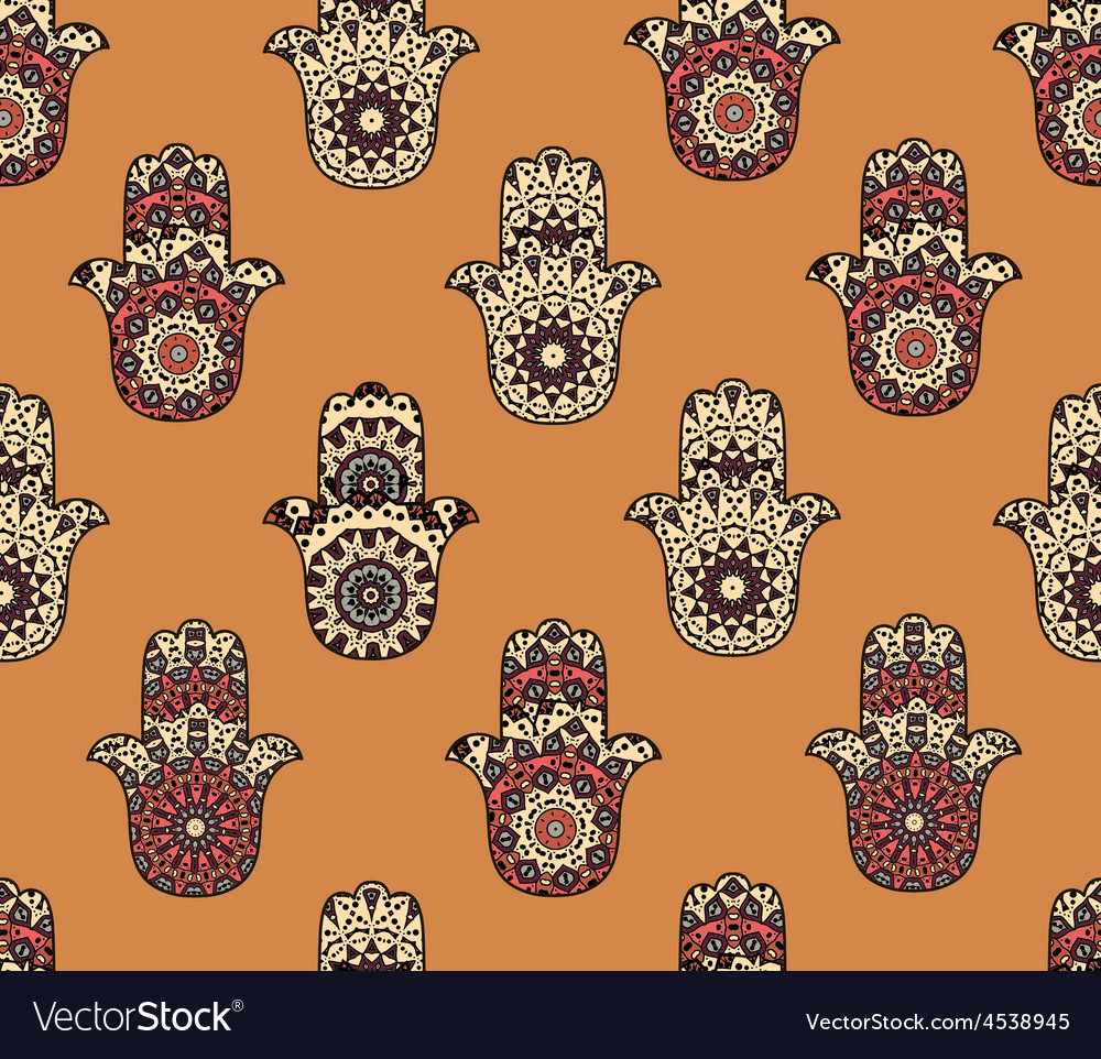 Seamless pattern with hamsa