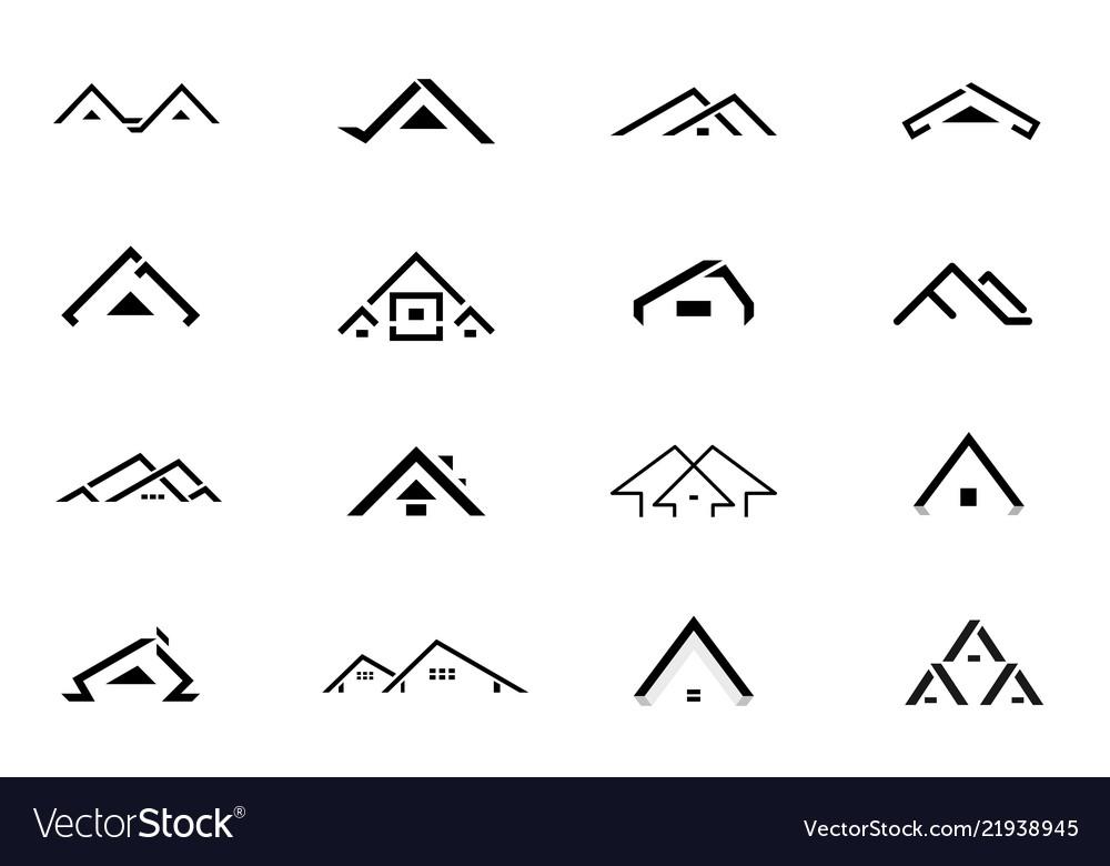 Set of black home logo design