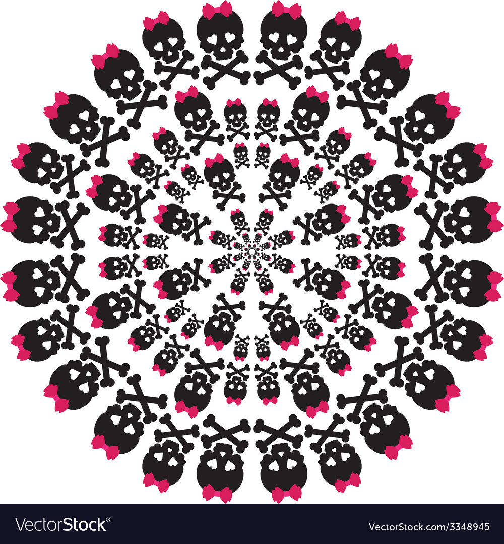 Skull with a pink bow on white background circular
