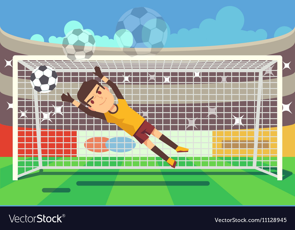 Soccer football goalkeeper catching ball in goal