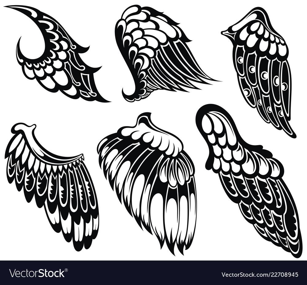 Tattoo wings set