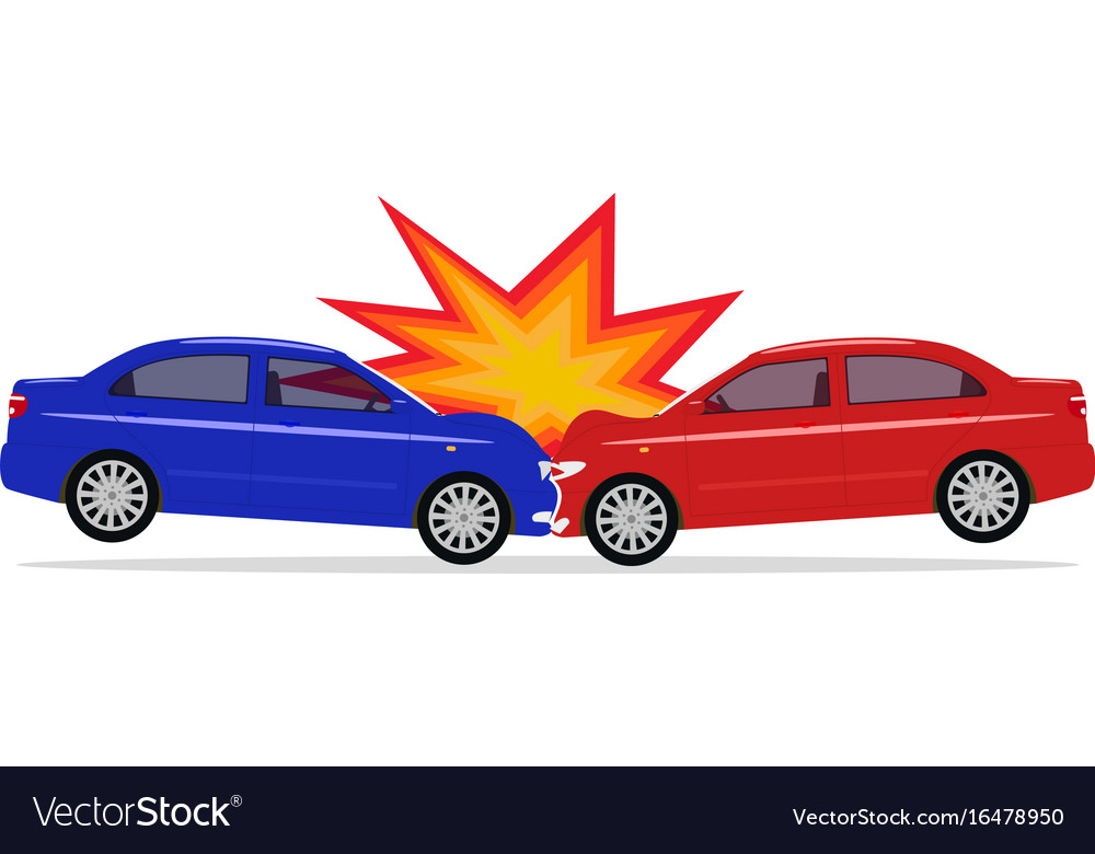 A Cartoon Car Accident Royalty Free Vector Image