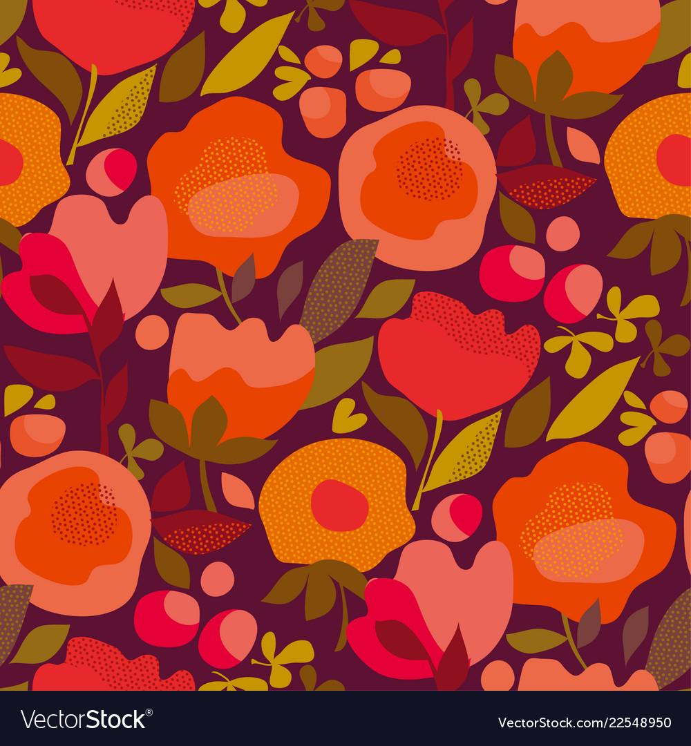 Autumn abstract floral orange seamless pattern