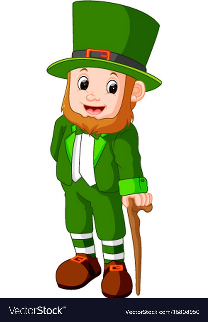 cartoon funny leprechaun royalty free vector image rh vectorstock com leprechaun hat vector dabbing leprechaun vector
