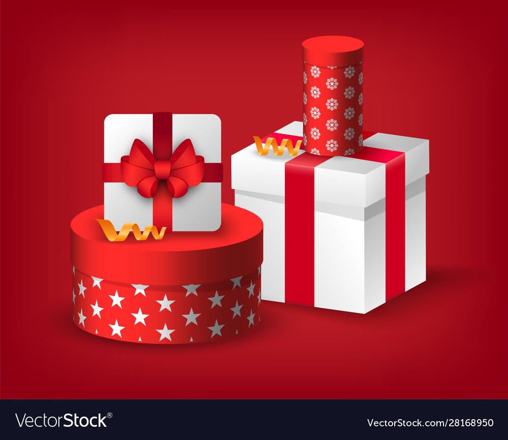 Christmas postcard with gift box sale ad