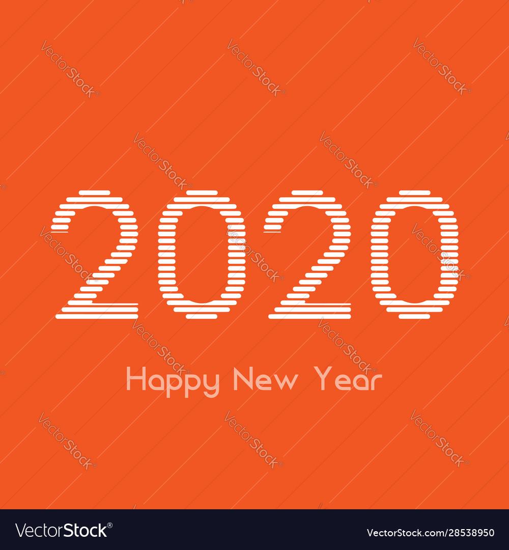 Creative happy new year 2020 white line design