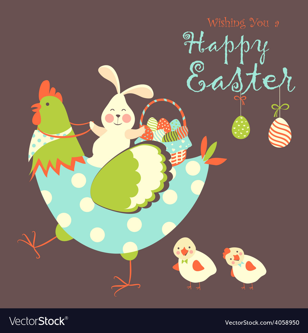 Easter bunnychicken and easter eggs vector image