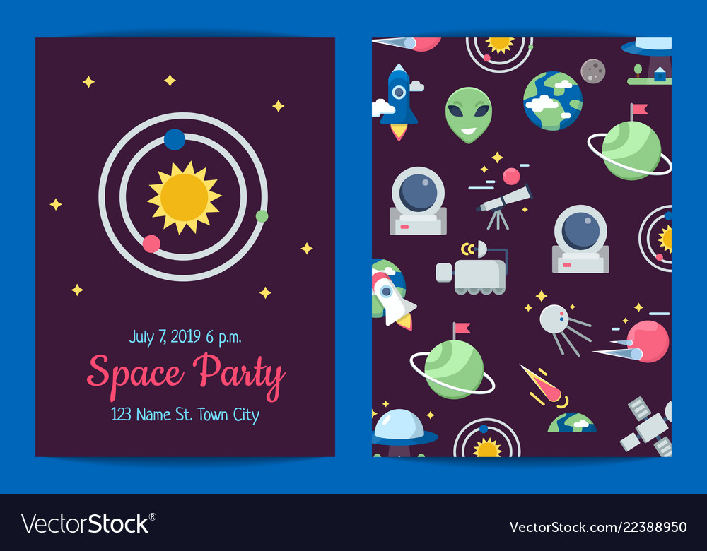 Flat space icons party invitation template
