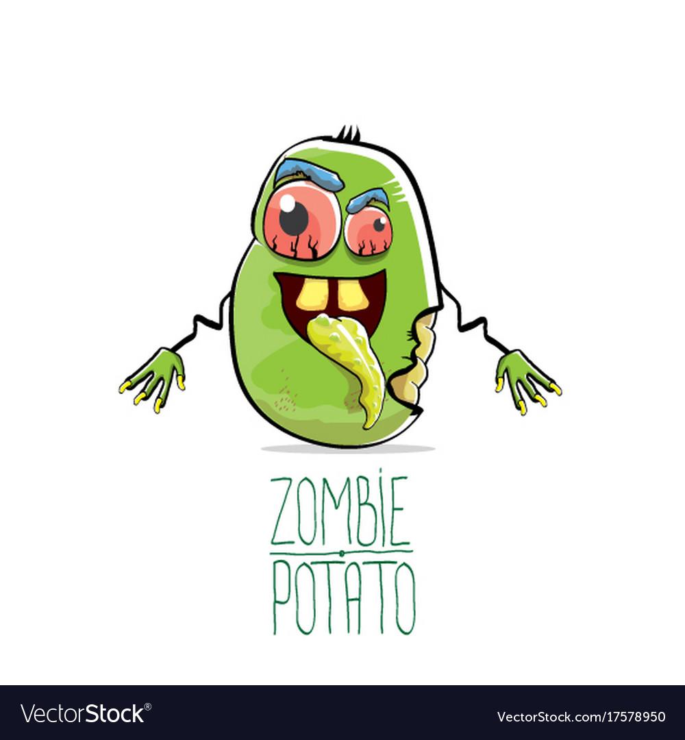 Funny cartoon cute green zombie potato