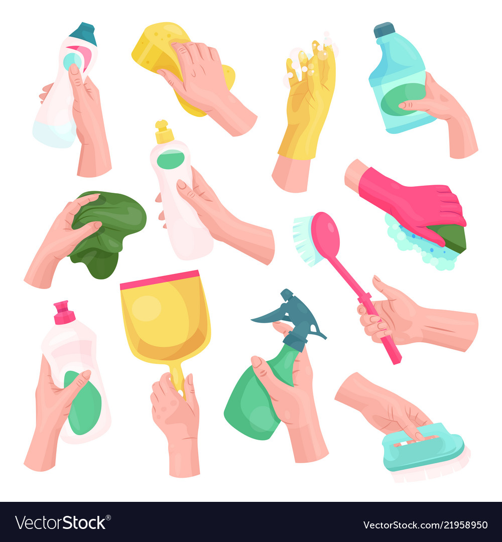Hands with cleaning tools and cleanser rag