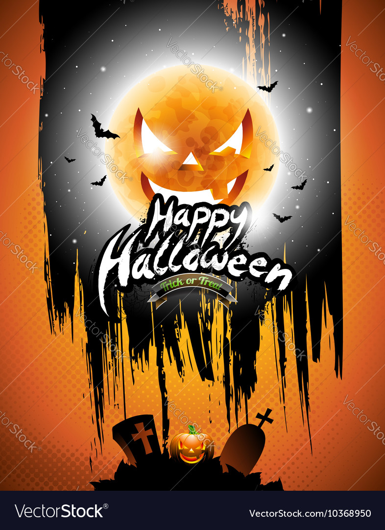 Happy Halloween with black sky and pumpkin moon vector image