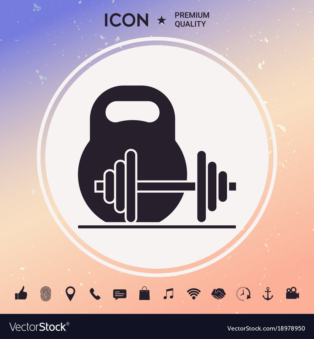 Kettlebell and barbell icon