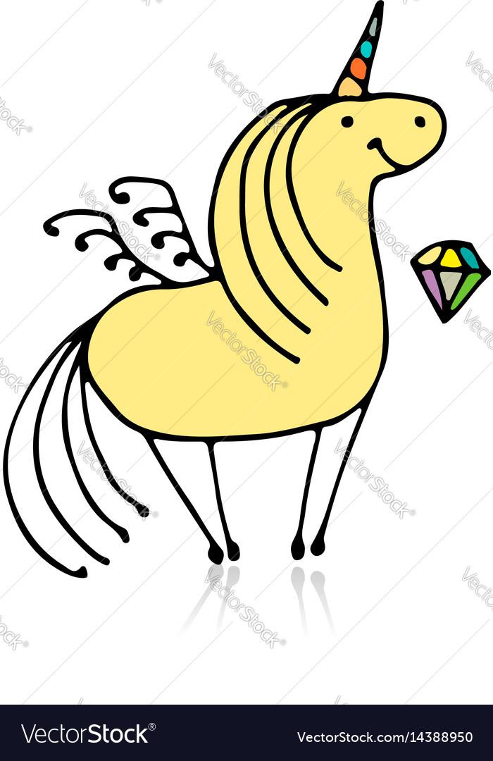 Magic unicorn sketch for your design