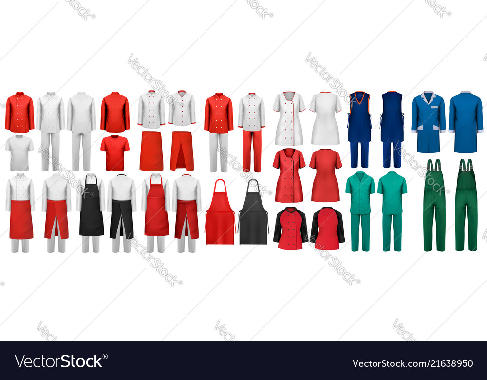 Mega set of overalls with worker and shefcooks