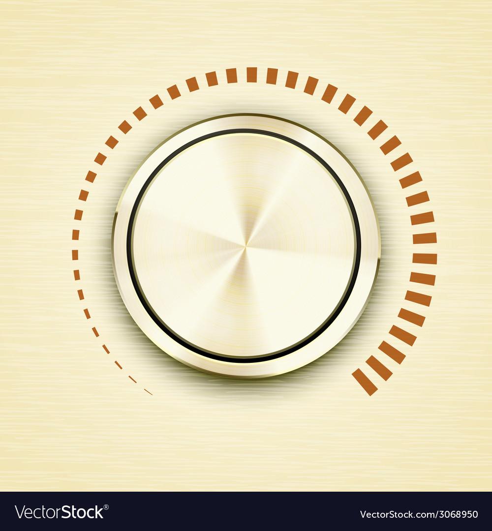 Round gold metallic volume knob vector image