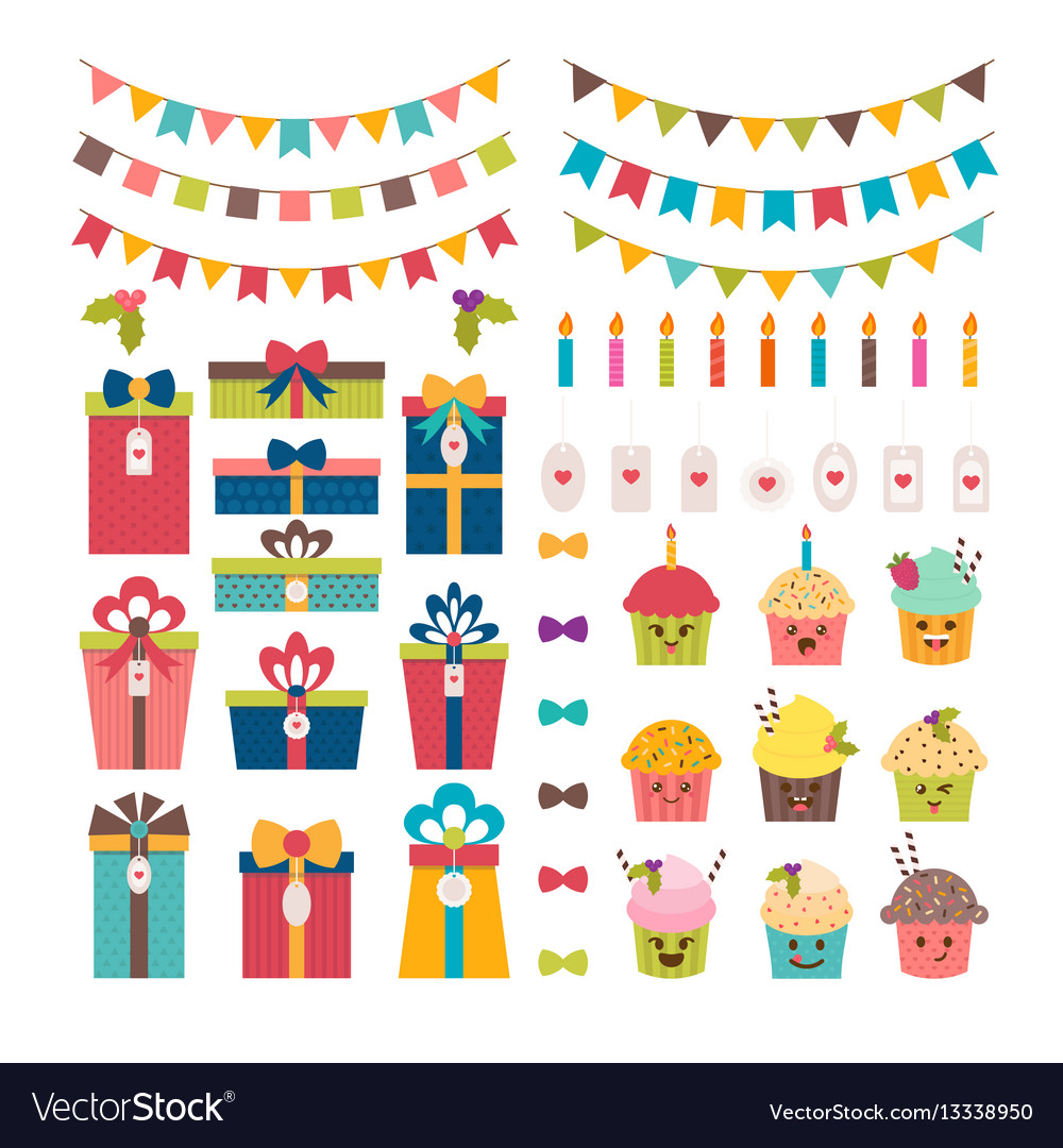 Set of birthday party or christmas design