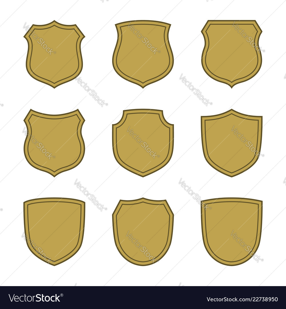 Shield shape gold icons set simple silhouette
