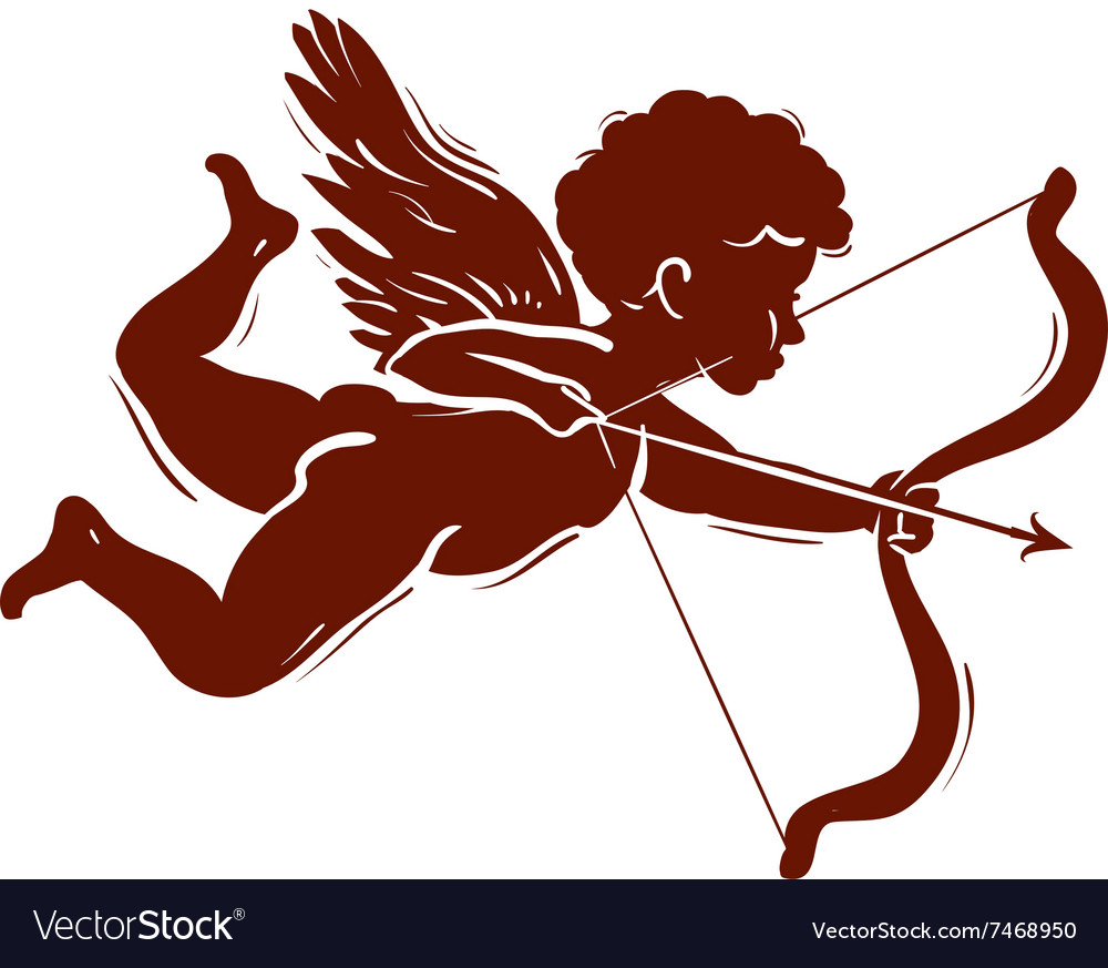 Silhouette of a cupid shooting arrow vector image