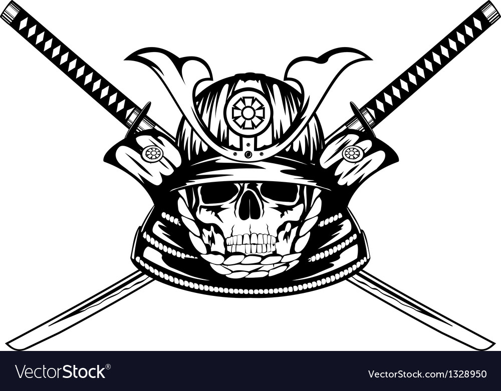 Skull in samurai helmet and crossed katanas