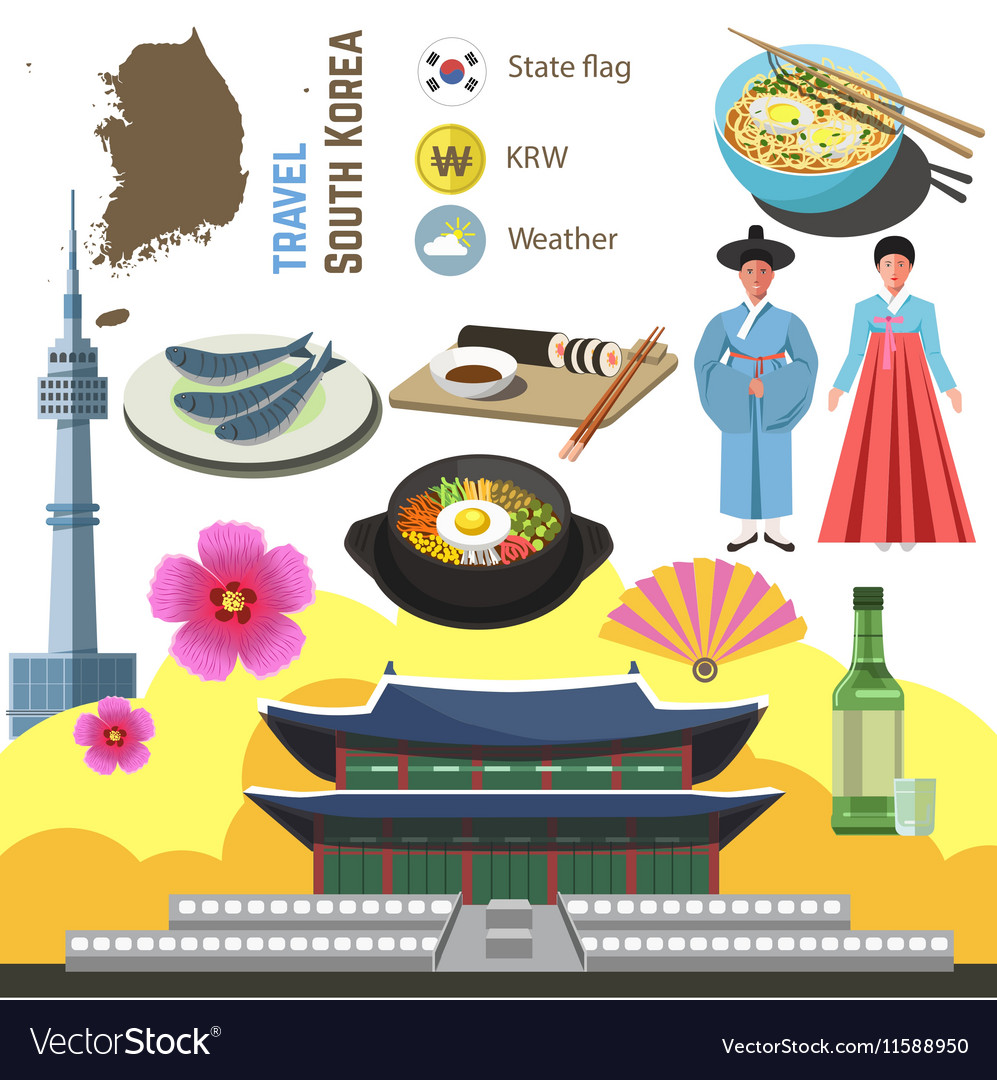 South Korea Culture Symbol Set Travel Seoul Vector Image
