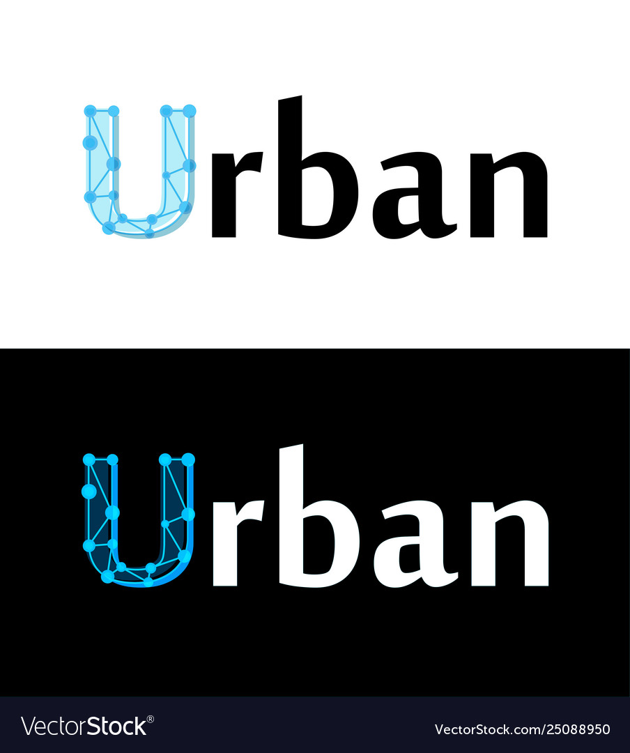 Urban label title caption on white and black
