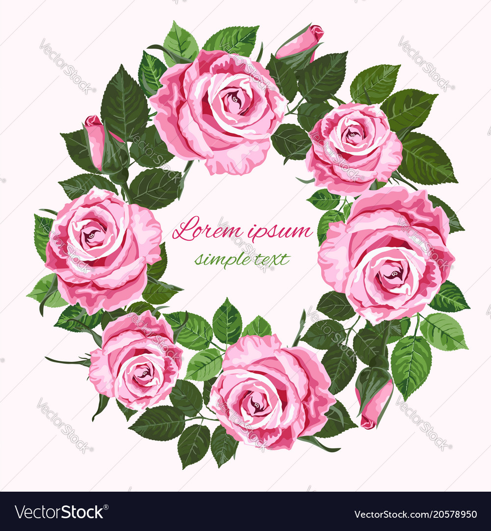 wedding invitations with pink roses wreath on the vector image