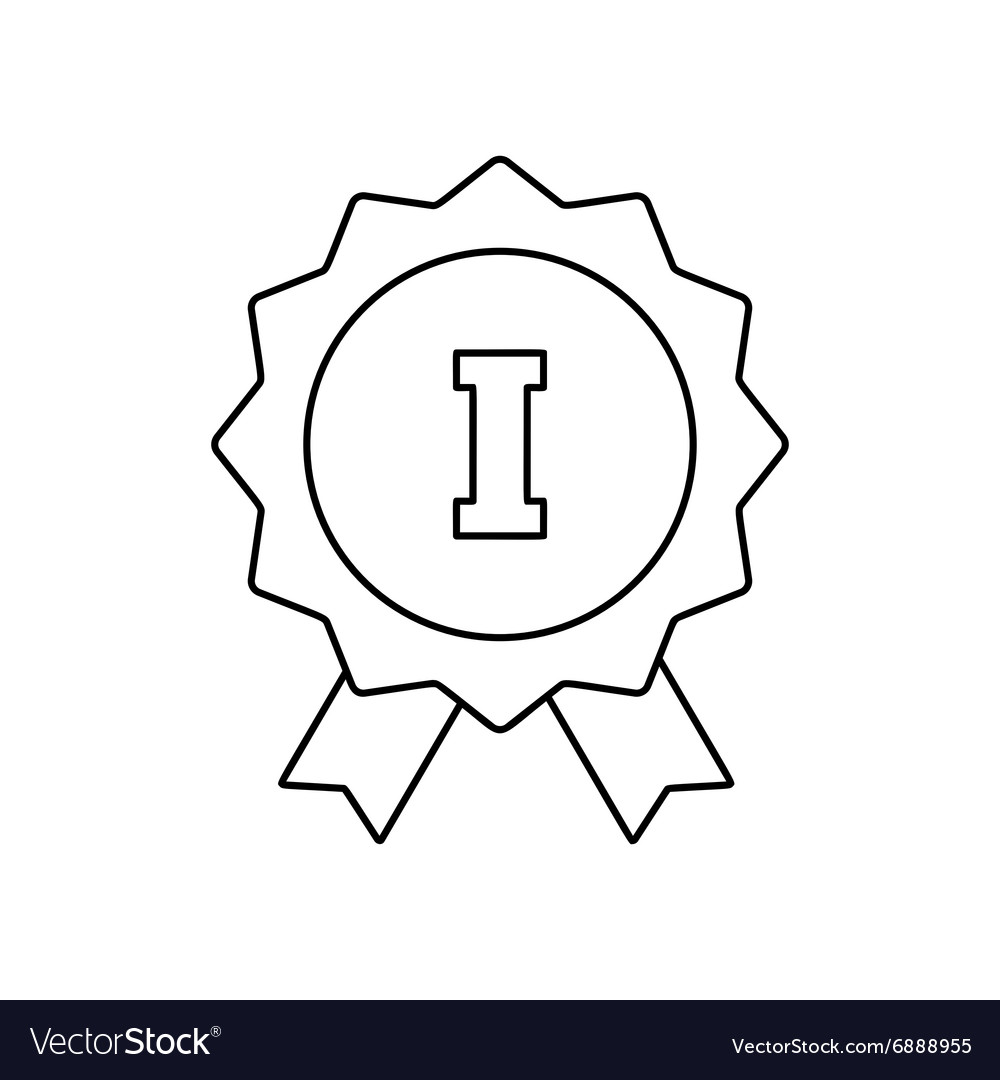 1st place ribbon line icon vector image