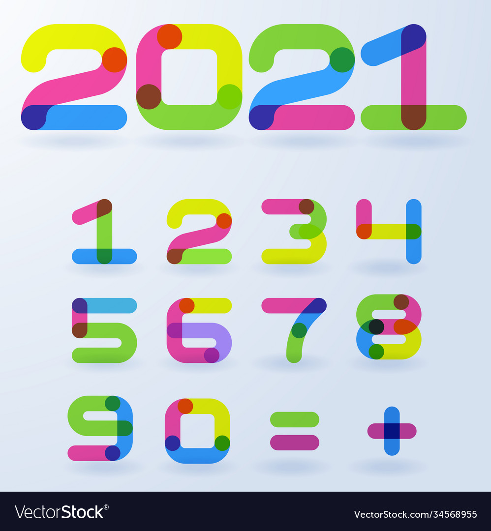 2021 bright rainbow numbers vector