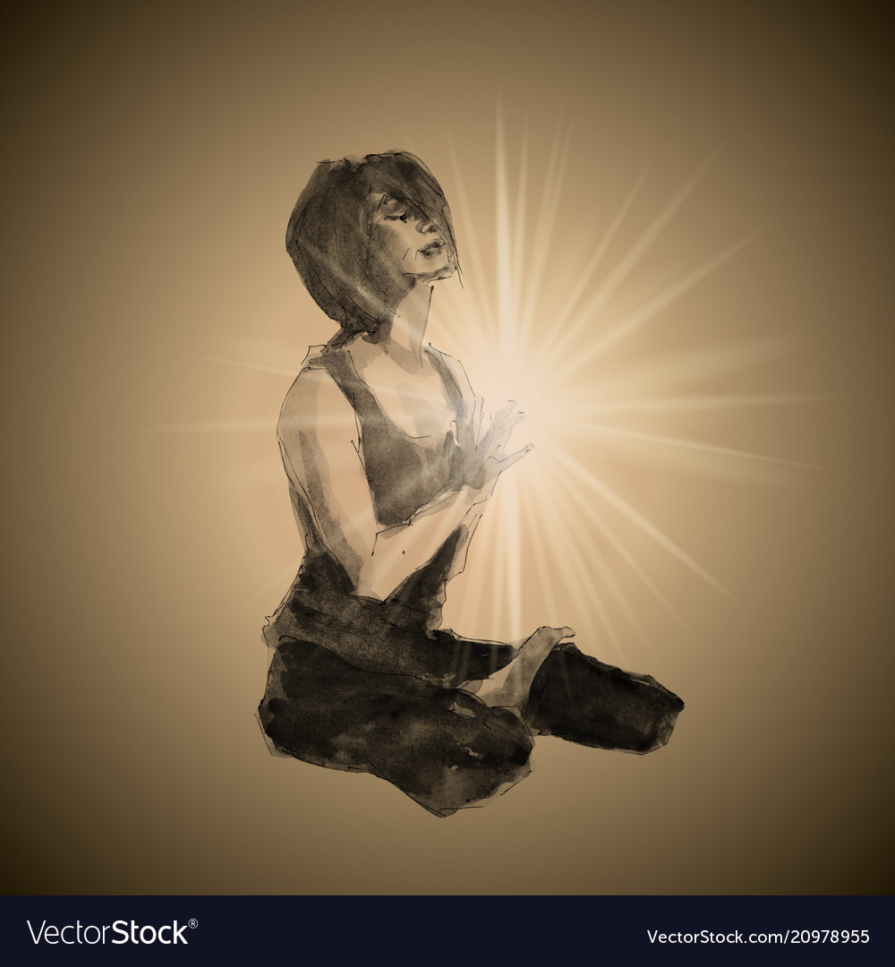 A realistic girl in a yoga pose
