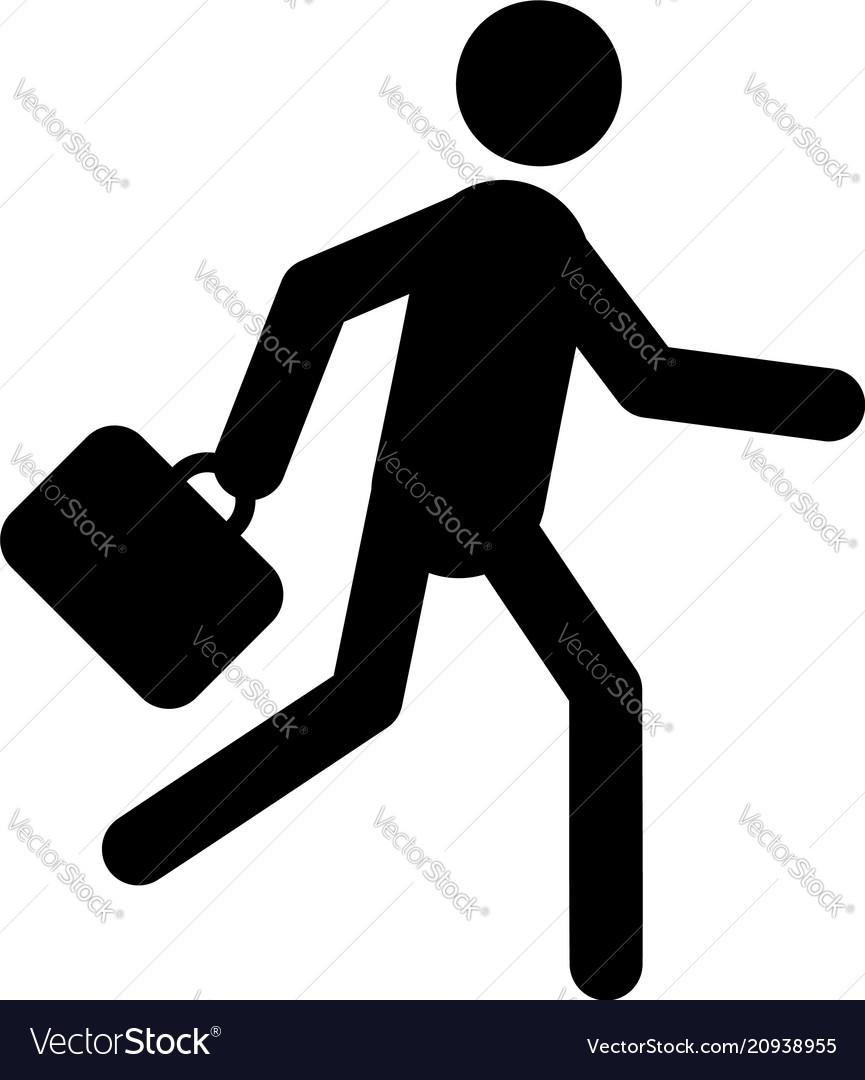 Businessman running with briefcase icon