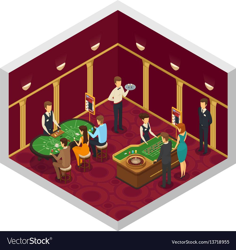 Colored casino isometric interior