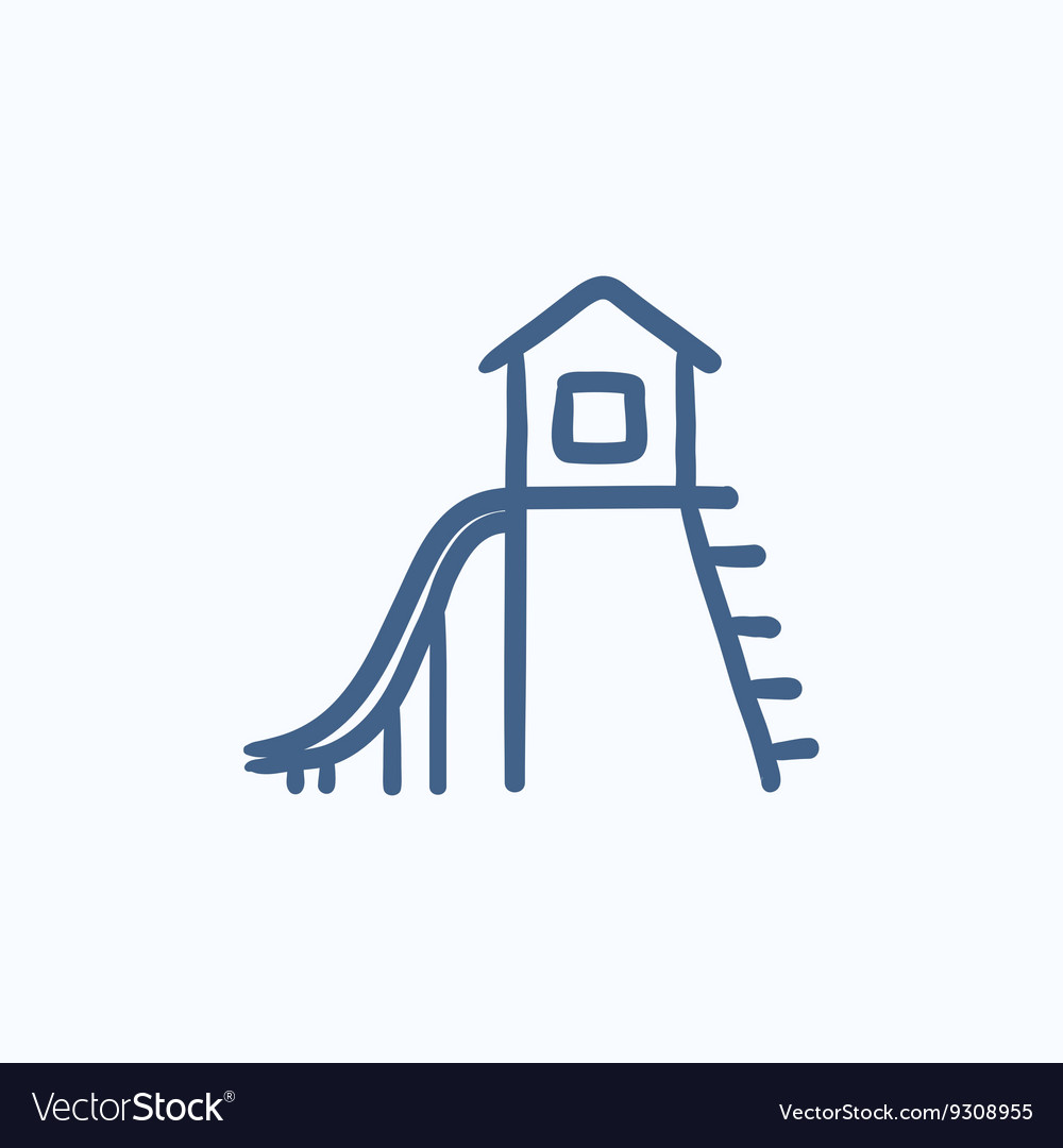 Playhouse with slide sketch icon