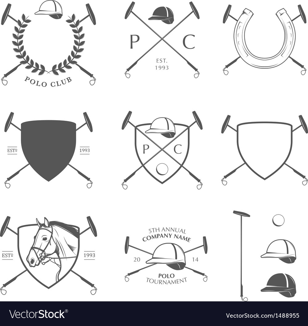 Set of vintage horse polo labels and badges vector image