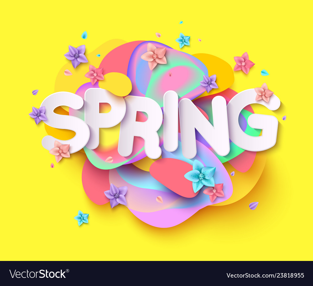 Spring background with paper cut flowers and