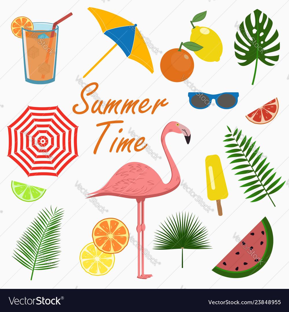 Summer icons set - flamingo design cards poster