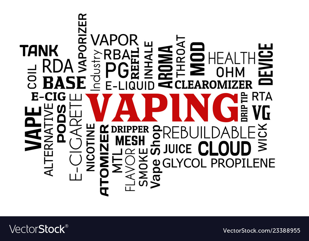 Vaping word cloud concept on white
