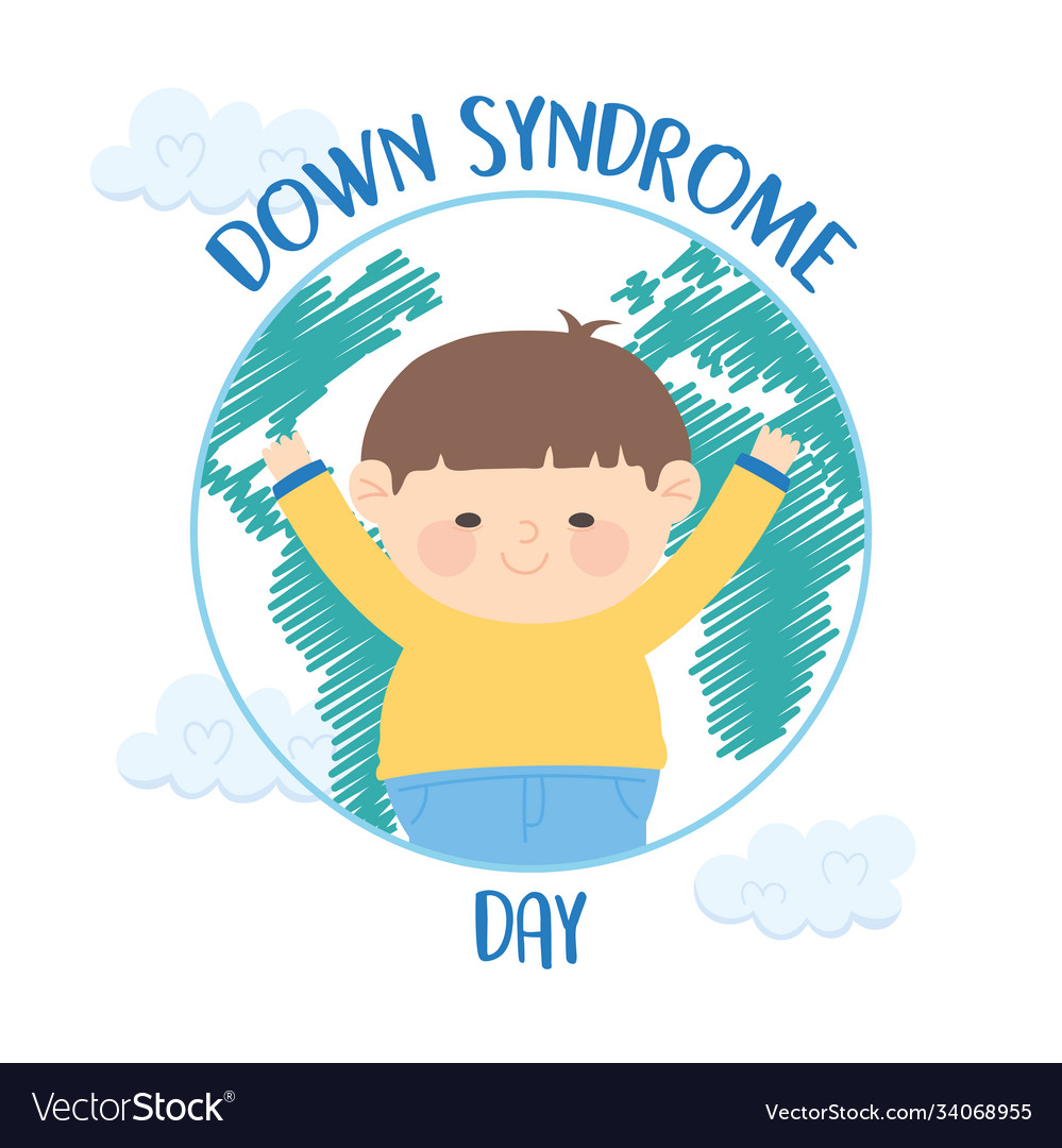 World down syndrome day happy little boy in map