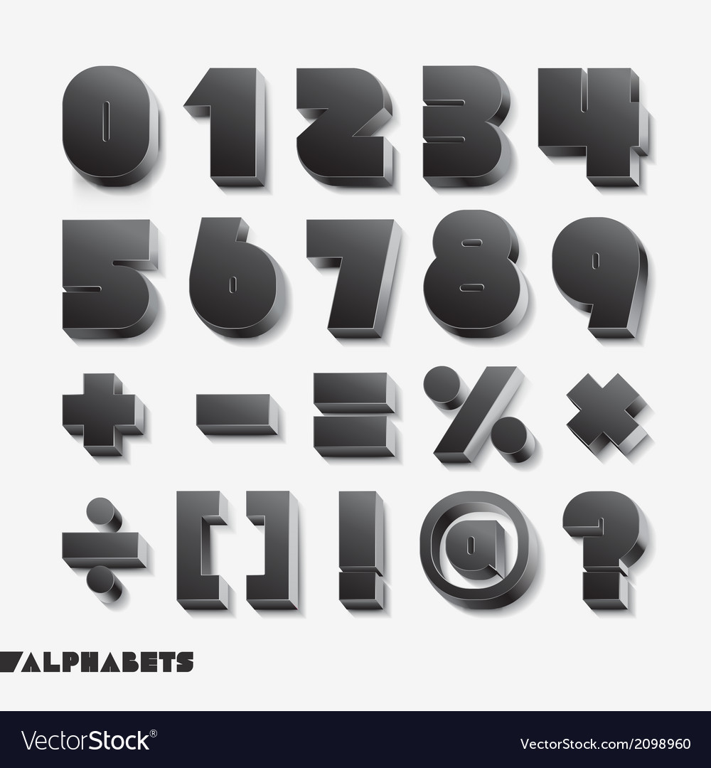 3D alphabet number black color