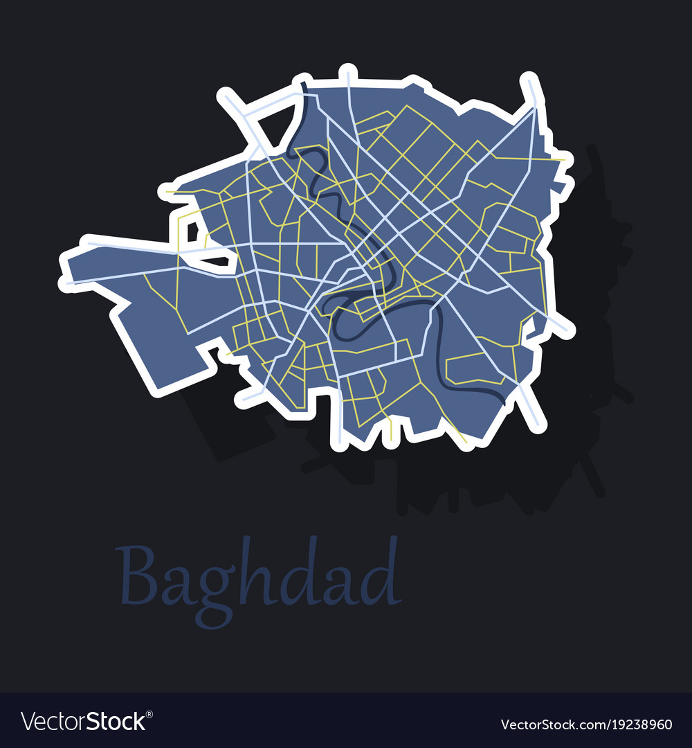 Baghdad city map - iraq sticker isolated on Vector Image
