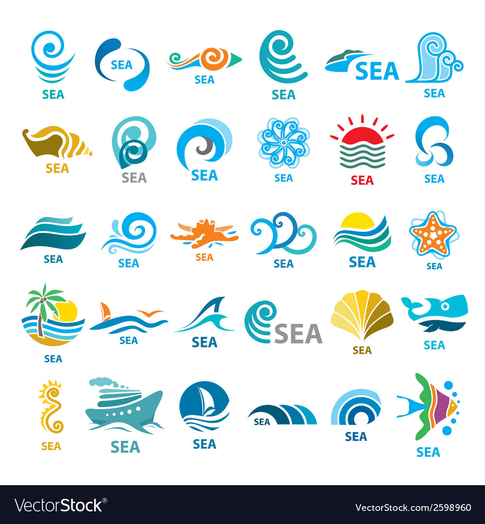 Big collection of logos sea vector image